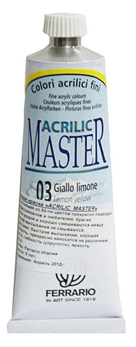Ferrario Краска акриловая Acrilic Master цвет №03 лимонный желтый 60 млBM09760CO03Акриловые краски серии ACRILIC MASTER итальянской компании Ferrario. Универсальны в применении, так как хорошо ложатся на любую обезжиренную поверхность: бумага, холст, картон, дерево, керамика, пластик. При изготовлении красок используются высококачественные пигменты мелкого помола. Краска быстро сохнет, обладает отличной укрывистостью и насыщенностью цвета. Работы, сделанные с помощью ACRILIC MASTER, не тускнеют и не выгорают на солнце. Все цвета отлично смешиваются между собой и при необходимости разбавляются водой. Для достижения необходимых эффектов применяют различные медиумы для акриловой живописи.