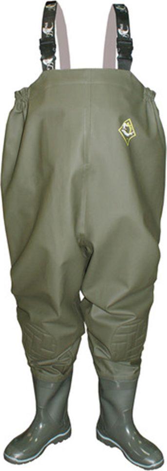 Полукомбинезон рыбацкий мужской Дюна, цвет: оливковый. 153-516. Размер 42153-516-42Мужской полукомбинезон Дюна отлично подойдет для рыбалки.Верх выполнен из ткани - винитол, прочного, стойкого к истиранию, прорезиненного материала. Все швы полукомбинезона соединены с использованием особой технологии пайки, что помогло добиться лучшей прочности и герметичности. Полукомбинезон оснащен регулируемыми лямками с замком-фастекс. Отличительная особенность в том, что полукомбинезон выполнен специальным кроем и подходит для полных людей. Для более хорошего прилегания к фигуре по бокам верхнего края полукомбинезона проложен резиновый жгут. С внутренней стороны расположен потайной карман. Верхняя часть полукомбинезона соединена с сапогом. Сапог выполнен с применением технологии трехкомпонентного литья. Подошва устойчива к истиранию за счет добавления каучуковых компонентов в композиции ПВХ. Обладает упругостью, холодоустойчивостью и высокими амортизирующими свойствами благодаря прослойке из вспененного нитрильного каучука. Вы будете чувствовать себя комфортно как на илистой местности, так и на каменистом берегу. Хранить изделие необходимо расправленным на вешалке, в сухом помещении при температуре воздуха от 0°С до 25°С, избегая попадания прямых солнечных лучей и воздействия отопительных приборов.