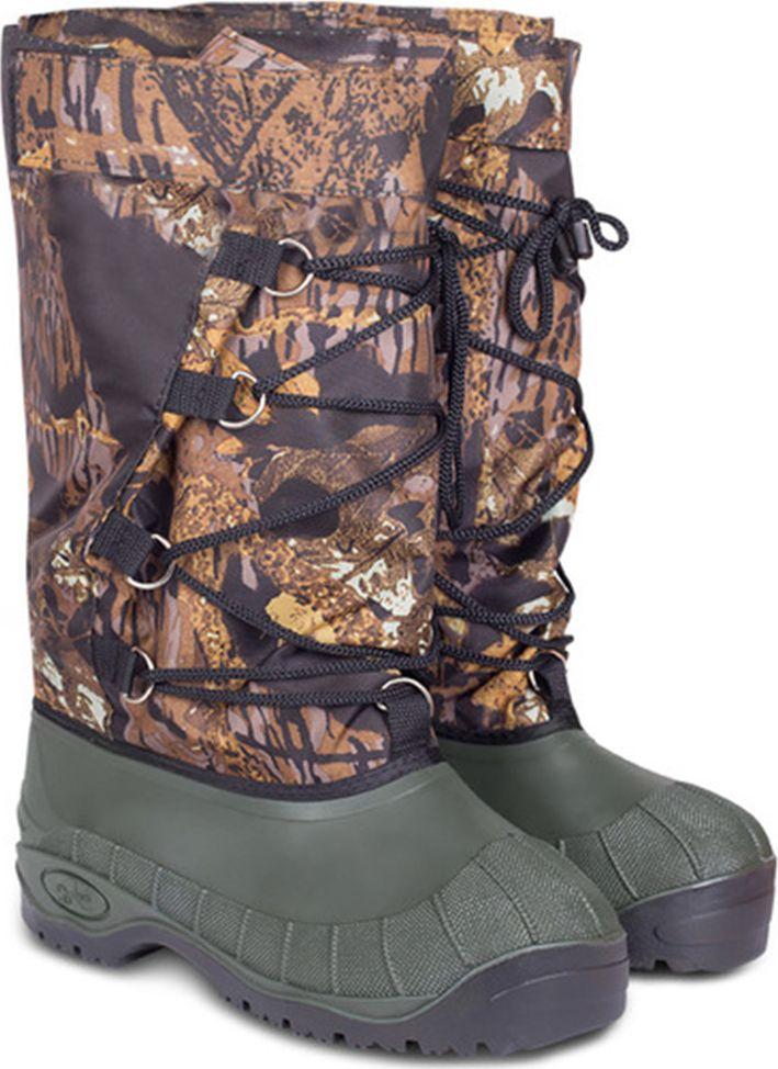Бахилы охотничьи мужские Дюна, цвет: лес. 133_01-705. Размер 46133_01-705-46Охотничьи бахилы выпускаются по современной технологии. Голенища бахил изготовлены из двухслойного материала, прочного на разрыв и стойкого к стиранию, предотвращающего проникновение влаги извне. Можно не бояться, что острые края надломленного наста или осколок льда повредят обувь. Обувь достаточно высокая, что повышает условия проходимости. Благодаря широким голенищам и расставленной, утягивающей шнуровке, обувь можно свободно надевать как на толстые ватные штаны, так и на более легкую одежду.Обувь комплектуется утепляющей вставкой-чулком, выполненной из дублированного материала, которая легко вставляется и вынимается из обуви. Пятка и подошва вставки-чулка обшита кожзаменителем, который не стирается. Утеплитель хорошо сохраняет тепло. Просушить его можно при комнатной температуре достаточно быстро.Дополнительно бахилы комплектуются вкладной стелькой (полизол/ЭВА), прекрасно сохраняющей тепло при более низких температурах. Подошва оснащена металлическими шипами, которые обеспечивают безопасность и сцепление на голом льду, при ходьбе нога не проскальзывает. Благодаря модернизированным стропам с полукольцами (крепления шнуровки), вы можете не беспокоится о деформации или разрыве крепления при стягивании шнуровки. Вся продукция сертифицирована.