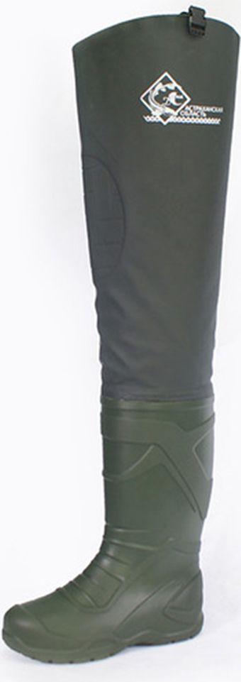 Сапоги рыбацкие мужские Дюна, цвет: зеленый. 450_t-366. Размер 46450_t-366-46Мужские проходческие сапоги из нового, экологически чистого, не аллергенного, легкого, мягкого, с абсолютной водонепроницаемостью, сырья DU-light. Сапоги обладают прочностью, хорошими тепловыми свойствами. Специально подобранная колодка обеспечивает удобство и комфорт в носке. Сапоги укомплектованы вкладной стелькой. Стелька изготовлена из нетканного стелечного материала.Материал соответствует требованиям ТР ТС 017/2011 О безопасности продукции легкой промышленности Материал стельки имеет хорошие показатели по разрывной нагрузке, сохраняет форму и размеры при многократном использовании. Толщина стельк и- 2,0 мм. Сапоги высокие разработаны с плотной качественной надставкой из водонепроницаемого материала «Винитол» , эластичный и легкий, но при этом прочный и надежный. Для соединения надставки используется особо прочный клей, что обеспечивает абсолютную водонепроницаемость и герметичность. Конструкция надставки выполнена с учетом особенностей фигуры человека, что обеспечивает свободу ног. В модели надставки используются пряжка-замок и стропа, дающие возможность закрепить болотник к ремню и отрегулировать его под любой рост человека. Обувь легко моется и сушится. Данная серия сапог предназначена для создания безопасных и комфортных условий во время рыбалки и охоты.