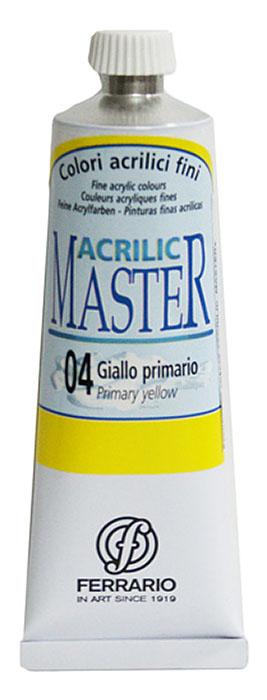 Ferrario Краска акриловая Acrilic Master цвет №04 желтый светлый 60 млBM09760CO04Акриловые краски серии ACRILIC MASTER итальянской компании Ferrario. Универсальны в применении, так как хорошо ложатся на любую обезжиренную поверхность: бумага, холст, картон, дерево, керамика, пластик. При изготовлении красок используются высококачественные пигменты мелкого помола. Краска быстро сохнет, обладает отличной укрывистостью и насыщенностью цвета. Работы, сделанные с помощью ACRILIC MASTER, не тускнеют и не выгорают на солнце. Все цвета отлично смешиваются между собой и при необходимости разбавляются водой. Для достижения необходимых эффектов применяют различные медиумы для акриловой живописи. В серии представлено 50 цветов.