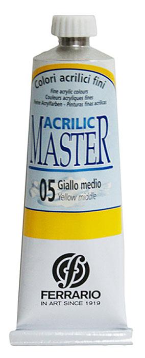 Ferrario Краска акриловая Acrilic Master цвет №05 желтый средний BM09760CO05BM09760CO05Акриловые краски серии ACRILIC MASTER итальянской компании Ferrario. Универсальны в применении, так как хорошо ложатся на любую обезжиренную поверхность: бумага, холст, картон, дерево, керамика, пластик. При изготовлении красок используются высококачественные пигменты мелкого помола. Краска быстро сохнет, обладает отличной укрывистостью и насыщенностью цвета. Работы, сделанные с помощью ACRILIC MASTER, не тускнеют и не выгорают на солнце. Все цвета отлично смешиваются между собой и при необходимости разбавляются водой. Для достижения необходимых эффектов применяют различные медиумы для акриловой живописи. В серии представлено 50 цветов.