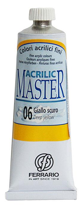 Ferrario Краска акриловая Acrilic Master цвет №06 желтый темный 60 млBM09760CO06Акриловые краски серии ACRILIC MASTER итальянской компании Ferrario. Универсальны в применении, так как хорошо ложатся на любую обезжиренную поверхность: бумага, холст, картон, дерево, керамика, пластик. При изготовлении красок используются высококачественные пигменты мелкого помола. Краска быстро сохнет, обладает отличной укрывистостью и насыщенностью цвета. Работы, сделанные с помощью ACRILIC MASTER, не тускнеют и не выгорают на солнце. Все цвета отлично смешиваются между собой и при необходимости разбавляются водой. Для достижения необходимых эффектов применяют различные медиумы для акриловой живописи. В серии представлено 50 цветов.