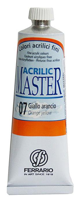 Ferrario Краска акриловая Acrilic Master цвет №07 оранжевый желтый 60 млBM09760CO07Акриловые краски серии ACRILIC MASTER итальянской компании Ferrario. Универсальны в применении, так как хорошо ложатся на любую обезжиренную поверхность: бумага, холст, картон, дерево, керамика, пластик. При изготовлении красок используются высококачественные пигменты мелкого помола. Краска быстро сохнет, обладает отличной укрывистостью и насыщенностью цвета. Работы, сделанные с помощью ACRILIC MASTER, не тускнеют и не выгорают на солнце. Все цвета отлично смешиваются между собой и при необходимости разбавляются водой. Для достижения необходимых эффектов применяют различные медиумы для акриловой живописи. В серии представлено 50 цветов.