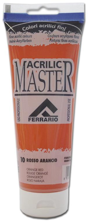 Ferrario Краска акриловая Acrilic Master цвет №10 оранжевый красный 250 млBM0978B0010Акриловые краски серии ACRILIC MASTER итальянской компании Ferrario. Универсальны в применении, так как хорошо ложатся на любую обезжиренную поверхность: бумага, холст, картон, дерево, керамика, пластик. При изготовлении красок используются высококачественные пигменты мелкого помола. Краска быстро сохнет, обладает отличной укрывистостью и насыщенностью цвета. Работы, сделанные с помощью ACRILIC MASTER, не тускнеют и не выгорают на солнце. Все цвета отлично смешиваются между собой и при необходимости разбавляются водой. Для достижения необходимых эффектов применяют различные медиумы для акриловой живописи. В серии представлено 50 цветов.