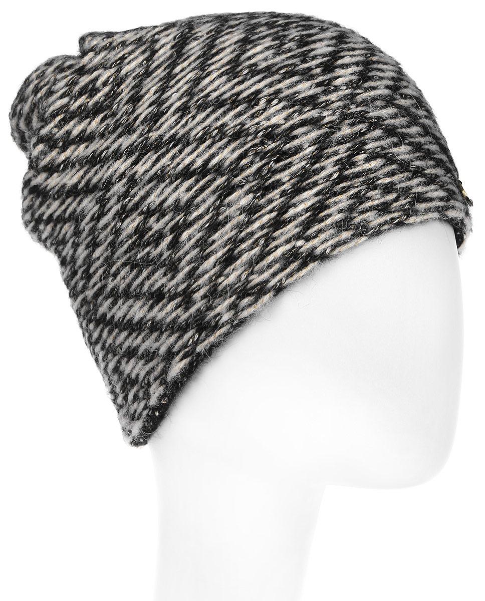 Шапка женская Dispacci, цвет: черный. 21243NU. Размер 56/5821243NUКолпак двухцветный. Рисунок ромбы. Внутренняя шапка из вспомогательной пряжи.