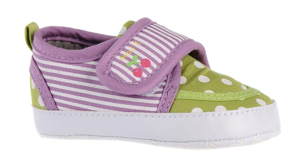 Пинетки детские Flamingo, цвет: сиреневый, зеленый. 71Y-YXL-0077. Размер 1971Y-YXL-0077Оригинальные детские пинетки от Flamingo - это легкая и удобная обувь для малышей, которые еще не умеют или только учатся ходить. Модель выполнена из текстиля.