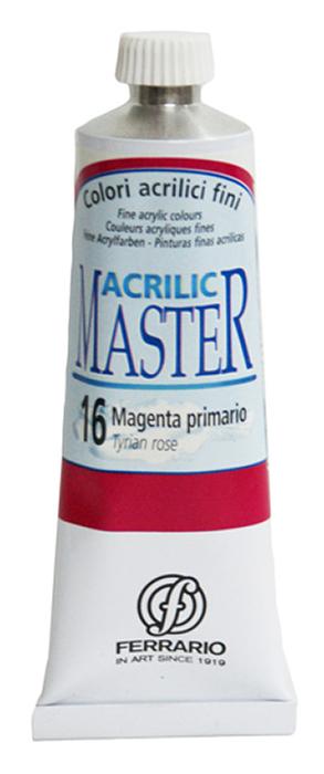 Ferrario Краска акриловая Acrilic Master цвет №16 маджента 60 мл BM09760CO16BM09760CO16Акриловые краски серии ACRILIC MASTER итальянской компании Ferrario. Универсальны в применении, так как хорошо ложатся на любую обезжиренную поверхность: бумага, холст, картон, дерево, керамика, пластик. При изготовлении красок используются высококачественные пигменты мелкого помола. Краска быстро сохнет, обладает отличной укрывистостью и насыщенностью цвета. Работы, сделанные с помощью ACRILIC MASTER, не тускнеют и не выгорают на солнце. Все цвета отлично смешиваются между собой и при необходимости разбавляются водой. Для достижения необходимых эффектов применяют различные медиумы для акриловой живописи. В серии представлено 50 цветов.
