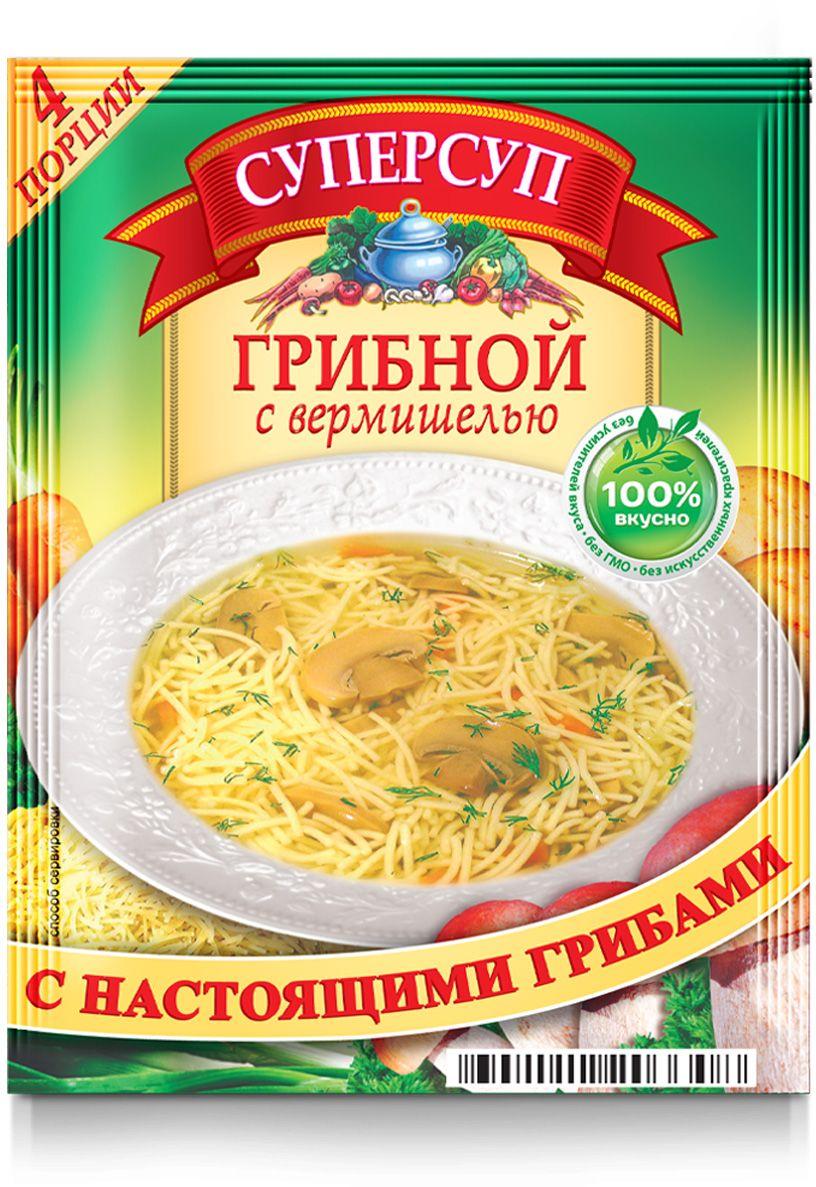 Русский продукт Суперсуп грибной с вермишелью, 70 г2000306Способ приготовления: содержимое пакета залить горячей водой в количестве 1,0 л (5 стаканов), при помешивании довести до кипения и варить 10-15 минут.