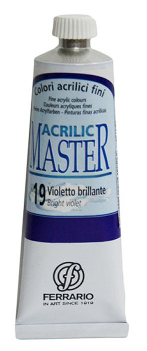 Ferrario Краска акриловая Acrilic Master цвет №19 фиолетовый яркий BM09760CO19BM09760CO19Акриловые краски серии ACRILIC MASTER итальянской компании Ferrario. Универсальны в применении, так как хорошо ложатся на любую обезжиренную поверхность: бумага, холст, картон, дерево, керамика, пластик. При изготовлении красок используются высококачественные пигменты мелкого помола. Краска быстро сохнет, обладает отличной укрывистостью и насыщенностью цвета. Работы, сделанные с помощью ACRILIC MASTER, не тускнеют и не выгорают на солнце. Все цвета отлично смешиваются между собой и при необходимости разбавляются водой. Для достижения необходимых эффектов применяют различные медиумы для акриловой живописи. В серии представлено 50 цветов.