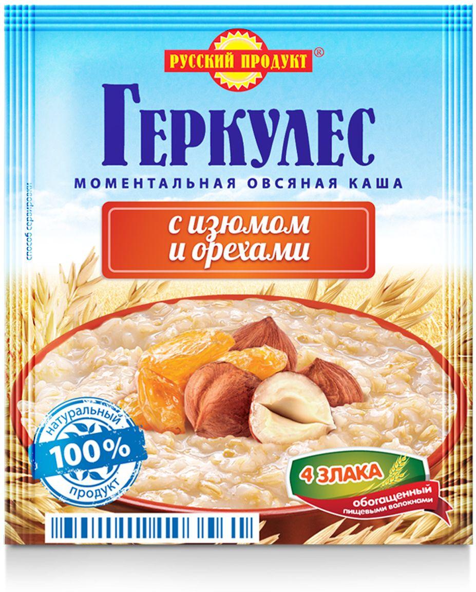 Русский продукт Геркулес овсяная каша с изюмом и орехами, 30 шт по 40 г правило кашевара каша овсяная с топинамбуром и вкусом яблока 42 г