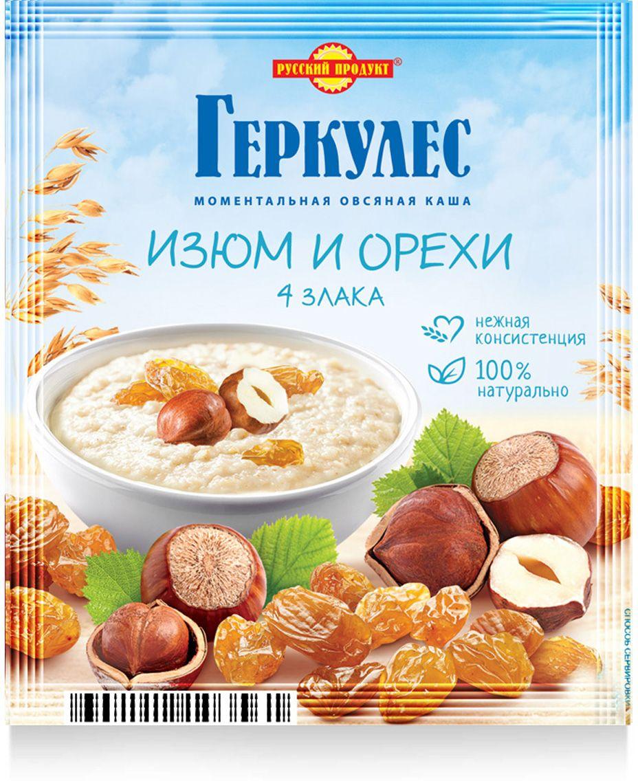 Русский продукт Геркулес овсяная каша с изюмом и орехами, 30 шт по 40 г Русский Продукт