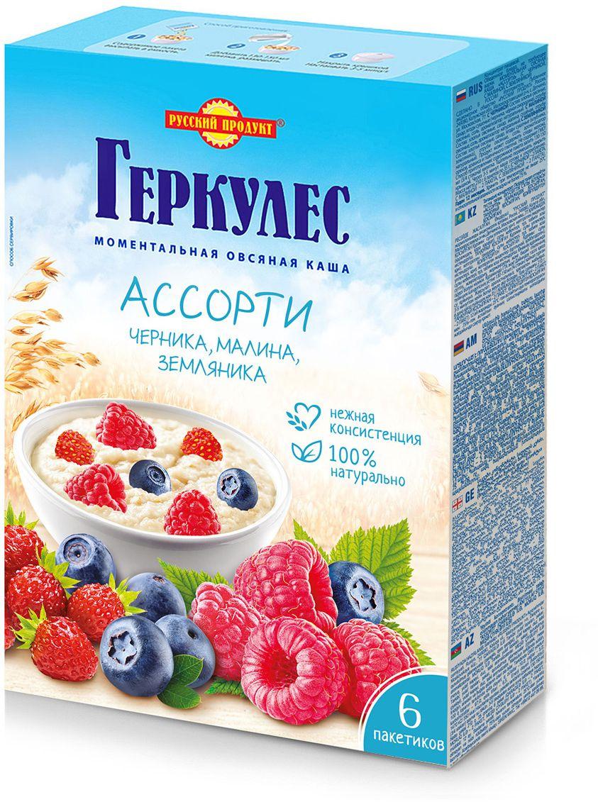 Русский продукт Геркулес овсяная каша ассорти: черника, малина, землиника, 6 шт по 35 г