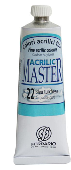 Ferrario Краска акриловая Acrilic Master цвет №22 турецкая голубая 60 млBM09760CO22Акриловые краски серии ACRILIC MASTER итальянской компании Ferrario. Универсальны в применении, так как хорошо ложатся на любую обезжиренную поверхность: бумага, холст, картон, дерево, керамика, пластик. При изготовлении красок используются высококачественные пигменты мелкого помола. Краска быстро сохнет, обладает отличной укрывистостью и насыщенностью цвета. Работы, сделанные с помощью ACRILIC MASTER, не тускнеют и не выгорают на солнце. Все цвета отлично смешиваются между собой и при необходимости разбавляются водой. Для достижения необходимых эффектов применяют различные медиумы для акриловой живописи. В серии представлено 50 цветов.