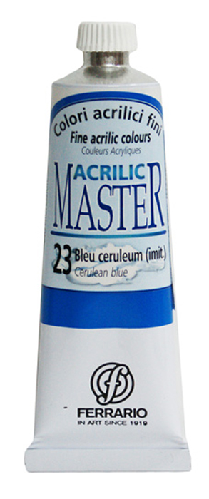Ferrario Краска акриловая Acrilic Master цвет №23 церулеум BM09760CO23BM09760CO23Акриловые краски серии ACRILIC MASTER итальянской компании Ferrario. Универсальны в применении, так как хорошо ложатся на любую обезжиренную поверхность: бумага, холст, картон, дерево, керамика, пластик. При изготовлении красок используются высококачественные пигменты мелкого помола. Краска быстро сохнет, обладает отличной укрывистостью и насыщенностью цвета. Работы, сделанные с помощью ACRILIC MASTER, не тускнеют и не выгорают на солнце. Все цвета отлично смешиваются между собой и при необходимости разбавляются водой. Для достижения необходимых эффектов применяют различные медиумы для акриловой живописи. В серии представлено 50 цветов.