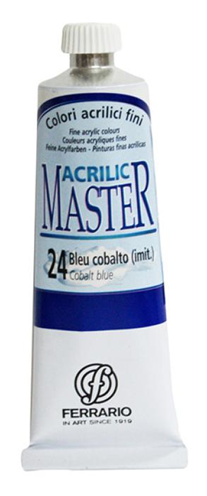 Ferrario Краска акриловая Acrilic Master цвет №24 кобальт голубой 60 млBM09760CO24Акриловые краски серии ACRILIC MASTER итальянской компании Ferrario. Универсальны в применении, так как хорошо ложатся на любую обезжиренную поверхность: бумага, холст, картон, дерево, керамика, пластик. При изготовлении красок используются высококачественные пигменты мелкого помола. Краска быстро сохнет, обладает отличной укрывистостью и насыщенностью цвета. Работы, сделанные с помощью ACRILIC MASTER, не тускнеют и не выгорают на солнце. Все цвета отлично смешиваются между собой и при необходимости разбавляются водой. Для достижения необходимых эффектов применяют различные медиумы для акриловой живописи. В серии представлено 50 цветов.