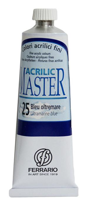 Ferrario Краска акриловая Acrilic Master цвет №25 ультрамарис голубой 60 млBM09760CO25Акриловые краски серии ACRILIC MASTER итальянской компании Ferrario. Универсальны в применении, так как хорошо ложатся на любую обезжиренную поверхность: бумага, холст, картон, дерево, керамика, пластик. При изготовлении красок используются высококачественные пигменты мелкого помола. Краска быстро сохнет, обладает отличной укрывистостью и насыщенностью цвета. Работы, сделанные с помощью ACRILIC MASTER, не тускнеют и не выгорают на солнце. Все цвета отлично смешиваются между собой и при необходимости разбавляются водой. Для достижения необходимых эффектов применяют различные медиумы для акриловой живописи. В серии представлено 50 цветов.