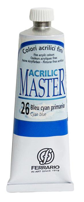 Ferrario Краска акриловая Acrilic Master цвет №26 сине-голубой 60 мл BM09760CO26BM09760CO26Акриловые краски серии ACRILIC MASTER итальянской компании Ferrario. Универсальны в применении, так как хорошо ложатся на любую обезжиренную поверхность: бумага, холст, картон, дерево, керамика, пластик. При изготовлении красок используются высококачественные пигменты мелкого помола. Краска быстро сохнет, обладает отличной укрывистостью и насыщенностью цвета. Работы, сделанные с помощью ACRILIC MASTER, не тускнеют и не выгорают на солнце. Все цвета отлично смешиваются между собой и при необходимости разбавляются водой. Для достижения необходимых эффектов применяют различные медиумы для акриловой живописи. В серии представлено 50 цветов.