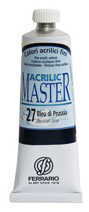 Ferrario Краска акриловая Acrilic Master цвет №27 голубая прусская 60 млBM09760CO27Акриловые краски серии ACRILIC MASTER итальянской компании Ferrario. Универсальны в применении, так как хорошо ложатся на любую обезжиренную поверхность: бумага, холст, картон, дерево, керамика, пластик. При изготовлении красок используются высококачественные пигменты мелкого помола. Краска быстро сохнет, обладает отличной укрывистостью и насыщенностью цвета. Работы, сделанные с помощью ACRILIC MASTER, не тускнеют и не выгорают на солнце. Все цвета отлично смешиваются между собой и при необходимости разбавляются водой. Для достижения необходимых эффектов применяют различные медиумы для акриловой живописи. В серии представлено 50 цветов.