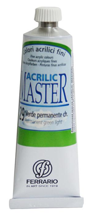 Ferrario Краска акриловая Acrilic Master цвет №29 зеленый светлый 60 млBM09760CO29Акриловые краски серии ACRILIC MASTER итальянской компании Ferrario. Универсальны в применении, так как хорошо ложатся на любую обезжиренную поверхность: бумага, холст, картон, дерево, керамика, пластик. При изготовлении красок используются высококачественные пигменты мелкого помола. Краска быстро сохнет, обладает отличной укрывистостью и насыщенностью цвета. Работы, сделанные с помощью ACRILIC MASTER, не тускнеют и не выгорают на солнце. Все цвета отлично смешиваются между собой и при необходимости разбавляются водой. Для достижения необходимых эффектов применяют различные медиумы для акриловой живописи. В серии представлено 50 цветов.