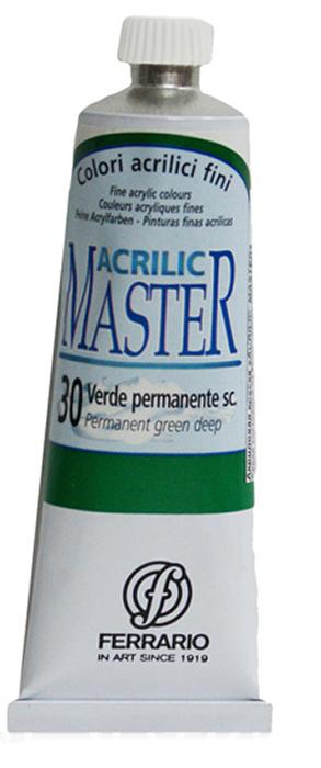 Ferrario Краска акриловая Acrilic Master цвет №30 зеленый темный 60 млBM09760CO30Акриловые краски серии ACRILIC MASTER итальянской компании Ferrario. Универсальны в применении, так как хорошо ложатся на любую обезжиренную поверхность: бумага, холст, картон, дерево, керамика, пластик. При изготовлении красок используются высококачественные пигменты мелкого помола. Краска быстро сохнет, обладает отличной укрывистостью и насыщенностью цвета. Работы, сделанные с помощью ACRILIC MASTER, не тускнеют и не выгорают на солнце. Все цвета отлично смешиваются между собой и при необходимости разбавляются водой. Для достижения необходимых эффектов применяют различные медиумы для акриловой живописи. В серии представлено 50 цветов.