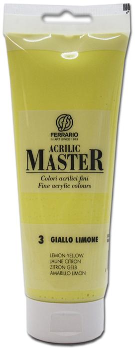Ferrario Краска акриловая Acrilic Master цвет №3 лимонный желтый 250 млBM0978B0003Акриловые краски серии ACRILIC MASTER итальянской компании Ferrario. Универсальны в применении, так как хорошо ложатся на любую обезжиренную поверхность: бумага, холст, картон, дерево, керамика, пластик. При изготовлении красок используются высококачественные пигменты мелкого помола. Краска быстро сохнет, обладает отличной укрывистостью и насыщенностью цвета. Работы, сделанные с помощью ACRILIC MASTER, не тускнеют и не выгорают на солнце. Все цвета отлично смешиваются между собой и при необходимости разбавляются водой. Для достижения необходимых эффектов применяют различные медиумы для акриловой живописи. В серии представлено 50 цветов.