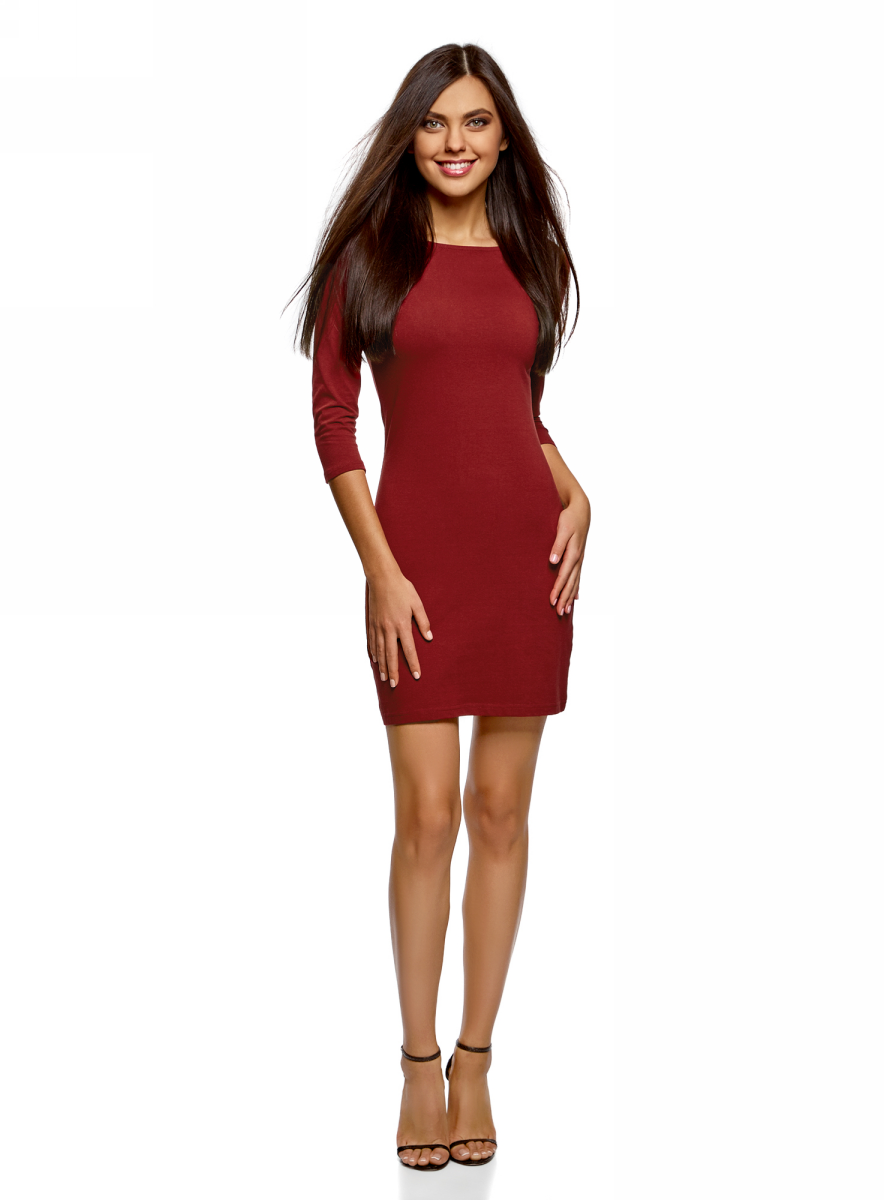 Платье oodji Ultra, цвет: бордовый. 14001071-2B/47420/4901N. Размер XXS (40) платье oodji collection цвет голубой белый горох 24001082 2 47420 7010d размер l 48