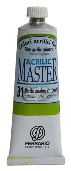 Ferrario Краска акриловая Acrilic Master цвет №31 киноварь зеленая светлая 60 мл BM09760CO31BM09760CO31Акриловые краски серии ACRILIC MASTER итальянской компании Ferrario. Универсальны в применении, так как хорошо ложатся на любую обезжиренную поверхность: бумага, холст, картон, дерево, керамика, пластик. При изготовлении красок используются высококачественные пигменты мелкого помола. Краска быстро сохнет, обладает отличной укрывистостью и насыщенностью цвета. Работы, сделанные с помощью ACRILIC MASTER, не тускнеют и не выгорают на солнце. Все цвета отлично смешиваются между собой и при необходимости разбавляются водой. Для достижения необходимых эффектов применяют различные медиумы для акриловой живописи. В серии представлено 50 цветов.