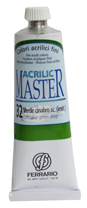 Ferrario Краска акриловая Acrilic Master цвет №32 киноварь зеленая темная 60 мл BM09760CO32BM09760CO32Акриловые краски серии ACRILIC MASTER итальянской компании Ferrario. Универсальны в применении, так как хорошо ложатся на любую обезжиренную поверхность: бумага, холст, картон, дерево, керамика, пластик. При изготовлении красок используются высококачественные пигменты мелкого помола. Краска быстро сохнет, обладает отличной укрывистостью и насыщенностью цвета. Работы, сделанные с помощью ACRILIC MASTER, не тускнеют и не выгорают на солнце. Все цвета отлично смешиваются между собой и при необходимости разбавляются водой. Для достижения необходимых эффектов применяют различные медиумы для акриловой живописи. В серии представлено 50 цветов.