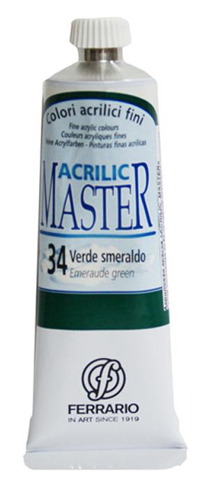Ferrario Краска акриловая Acrilic Master цвет №34 виридовая зеленая 60 млBM09760CO34Акриловые краски серии ACRILIC MASTER итальянской компании Ferrario. Универсальны в применении, так как хорошо ложатся на любую обезжиренную поверхность: бумага, холст, картон, дерево, керамика, пластик. При изготовлении красок используются высококачественные пигменты мелкого помола. Краска быстро сохнет, обладает отличной укрывистостью и насыщенностью цвета. Работы, сделанные с помощью ACRILIC MASTER, не тускнеют и не выгорают на солнце. Все цвета отлично смешиваются между собой и при необходимости разбавляются водой. Для достижения необходимых эффектов применяют различные медиумы для акриловой живописи. В серии представлено 50 цветов.