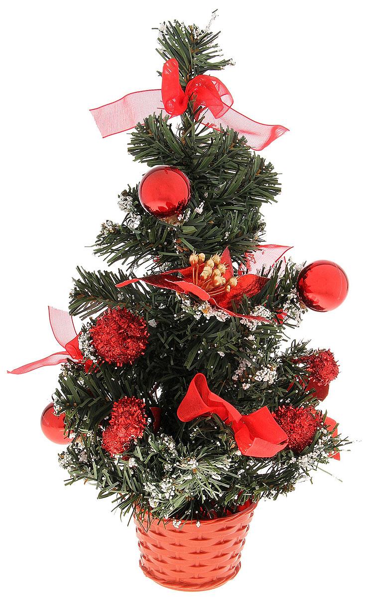 Ель искусственная Sima-Land Новогодняя елочка, настольная, высота 30 см. 717973717973Оригинальный дизайн новогодней елки Sima-Land притягивает к себе восторженные взгляды. Елка украшена декоративным снегом, красными лентами, шариками. Елка украсит интерьер вашего дома или офиса к Новому году и создаст теплую и уютную атмосферу праздника.Откройте для себя удивительный мир сказок и грез. Почувствуйте волшебные минуты ожидания праздника, создайте новогоднее настроение вашим дорогим и близким.