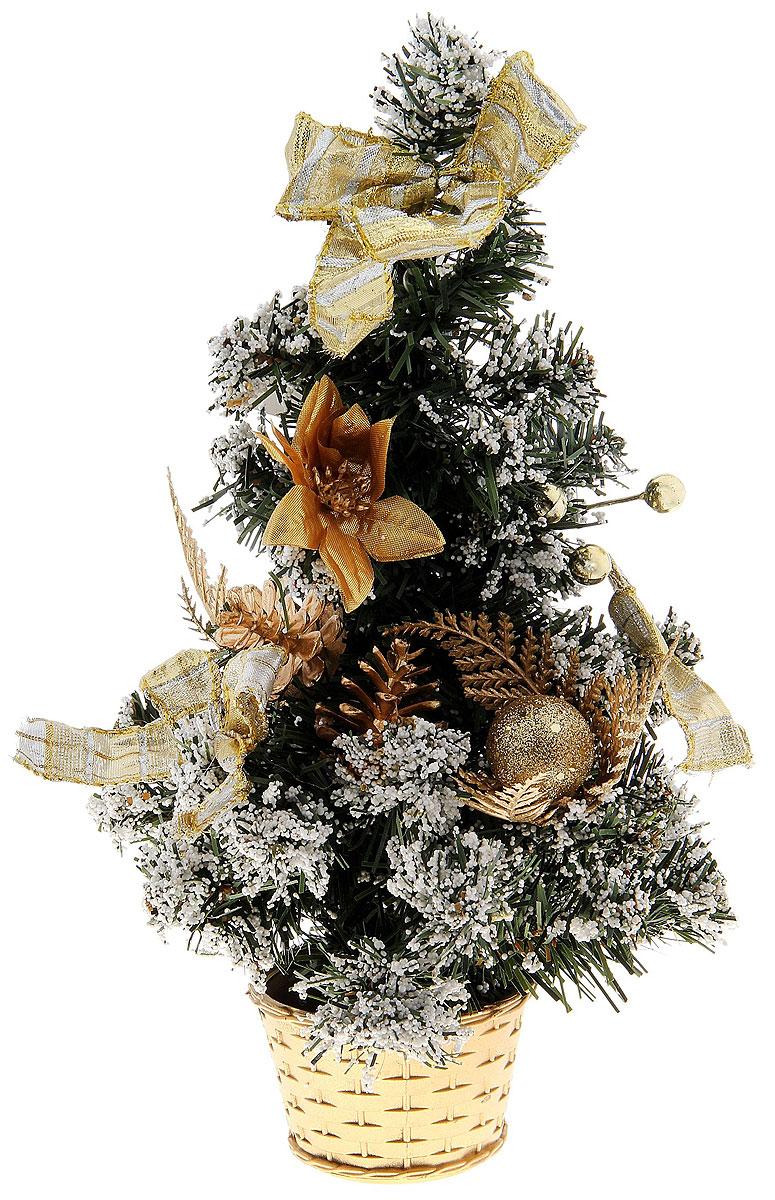 Ель искусственная Sima-land Новогодняя елочка, настольная, высота 30 см717974Декоративное украшение, выполненное из пластика - мини-елочка зеленого цвета для оформления интерьера к Новому году. Ее не нужно ни собирать, ни наряжать, зато настроение праздника она создает очень быстро. Елка украшена лентами, шишками и шариками. Елка украсит интерьер вашего дома или офиса к Новому году и создаст теплую и уютную атмосферу праздника.Откройте для себя удивительный мир сказок и грез. Почувствуйте волшебные минуты ожидания праздника, создайте новогоднее настроение вашим дорогим и близким. Характеристики:Материал: пластик, металл, текстиль. Цвет: зеленый, золотистый. Размер елочки: 17 см х 17 см х 30 см. Артикул: 717974. Ель прикреплена к пластиковому горшочку.