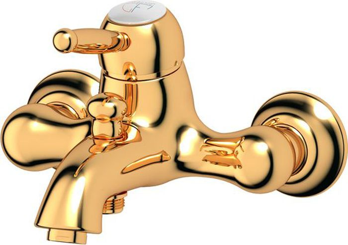 Смеситель для ванной Ponsi Stilmar, цвет: золотистый. PON 252/M...AUPON 252/M...AUСтиль Ponsi является результатом сочетания вековых традиций и современных инноваций, поэтому вся продукция этой тосканской компании уникальна, добротна и хорошо продумана. Это философия, которая уже более 70 лет позволяет компании создавать продукты, совмещающие в себе элегантность, прочность и безукоризненный вкус. Все этапы производства от разработки дизайна до упаковки готовой продукции осуществляются на одном и том же заводе, поэтому качество продукции Ponsi безупречно. Особое внимание к деталям, тщательность исполнения, многообразие стилей – вот отличительные черты продукции Ponsi.Высококачественная латунь — дорогостоящий многокомпонентный медный сплав с основным легирующим элементом – цинком. Обладает высокой прочностью и коррозионной стойкостью. Считается лучшим материалом для изготовления аксессуаров, смесителей и другого сантехнического оборудования.Сделано из латуни. Латунь, используемая в производстве аксессуаров, обладает высокой прочностью и коррозионной стойкостью, и считается лучшим материалом для изготовления аксессуаров.Фарфор. Декоративные части смесителей, изготовленные из фарфора, удачно сочетаются с аксессуарами коллекции STILMAR.Произведено в Италии. Весь технологический цикл производства осуществляется на территории Италии.Предмет покрыт золотом 999 пробы