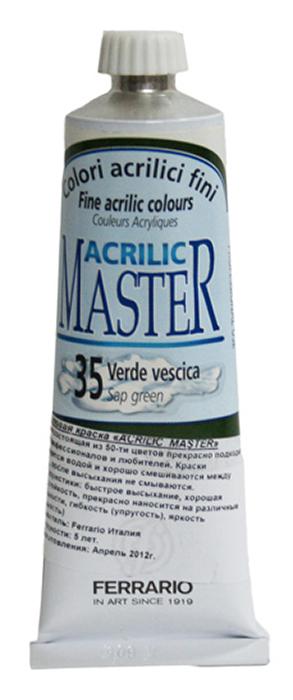 Ferrario Краска акриловая Acrilic Master цвет №35 природная зеленая 60 млBM09760CO35Акриловые краски серии ACRILIC MASTER итальянской компании Ferrario. Универсальны в применении, так как хорошо ложатся на любую обезжиренную поверхность: бумага, холст, картон, дерево, керамика, пластик. При изготовлении красок используются высококачественные пигменты мелкого помола. Краска быстро сохнет, обладает отличной укрывистостью и насыщенностью цвета. Работы, сделанные с помощью ACRILIC MASTER, не тускнеют и не выгорают на солнце. Все цвета отлично смешиваются между собой и при необходимости разбавляются водой. Для достижения необходимых эффектов применяют различные медиумы для акриловой живописи. В серии представлено 50 цветов.