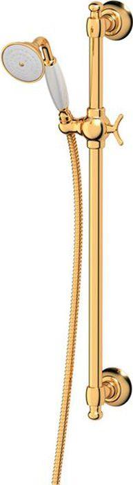 Штанга с лейкой для душа Ponsi Stilmar, цвет: золотистый. PON 376..ST.AUPON 376..ST.AUСтиль Ponsi является результатом сочетания вековых традиций и современных инноваций, поэтому вся продукция этой тосканской компании уникальна, добротна и хорошо продумана. Это философия, которая уже более 70 лет позволяет компании создавать продукты, совмещающие в себе элегантность, прочность и безукоризненный вкус. Все этапы производства от разработки дизайна до упаковки готовой продукции осуществляются на одном и том же заводе, поэтому качество продукции Ponsi безупречно. Особое внимание к деталям, тщательность исполнения, многообразие стилей – вот отличительные черты продукции Ponsi.Высококачественная латунь — дорогостоящий многокомпонентный медный сплав с основным легирующим элементом – цинком. Обладает высокой прочностью и коррозионной стойкостью. Считается лучшим материалом для изготовления аксессуаров, смесителей и другого сантехнического оборудования.Сделано из латуни. Латунь, используемая в производстве аксессуаров, обладает высокой прочностью и коррозионной стойкостью, и считается лучшим материалом для изготовления аксессуаров.Фарфор. Декоративные части смесителей, изготовленные из фарфора, удачно сочетаются с аксессуарами коллекции STILMAR.Произведено в Италии. Весь технологический цикл производства осуществляется на территории Италии.Предмет покрыт золотом 999 пробы