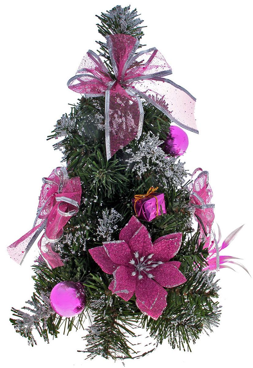 Ель искусственная Sima-land Розовая пуансетия в снегу, настольная, высота 33 см819258Мини-елочкадля оформления интерьера к Новому году. Ее не нужно ни собирать, ни наряжать, зато настроение праздника она создает очень быстро. Для большего объема и пушистости, ветки елочки закреплены в хаотичном порядке. А благодаря аккуратному горшочку, в который помещена елочка, она станет прекрасным украшением любого интерьера.Елка украшена бантами, текстильными цветами пуансетии, подарками, пластиковыми яблоками и грушами и искусственным снегом. Елка украсит интерьер вашего дома или офиса к Новому году и создаст теплую и уютную атмосферу праздника.Откройте для себя удивительный мир сказок и грез. Почувствуйте волшебные минуты ожидания праздника, создайте новогоднее настроение вашим дорогим и близким.