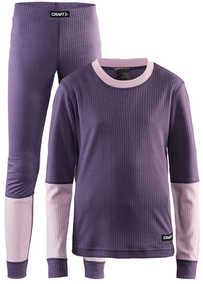 Комплект термобелья детский: брюки и кофта Craft Baselayer, цвет: серый, розовый. 1905355/750701. Размер 146/1521905355/750701