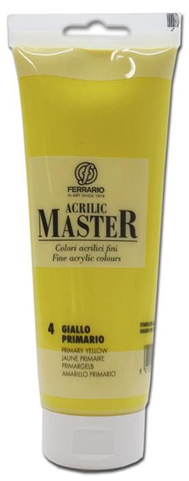 Ferrario Краска акриловая Acrilic Master цвет №4 желтый светлый 250 мл190473Акриловые краски серии ACRILIC MASTER итальянской компании Ferrario. Универсальны в применении, так как хорошо ложатся на любую обезжиренную поверхность: бумага, холст, картон, дерево, керамика, пластик. При изготовлении красок используются высококачественные пигменты мелкого помола. Краска быстро сохнет, обладает отличной укрывистостью и насыщенностью цвета. Работы, сделанные с помощью ACRILIC MASTER, не тускнеют и не выгорают на солнце. Все цвета отлично смешиваются между собой и при необходимости разбавляются водой. Для достижения необходимых эффектов применяют различные медиумы для акриловой живописи. В серии представлено 50 цветов.