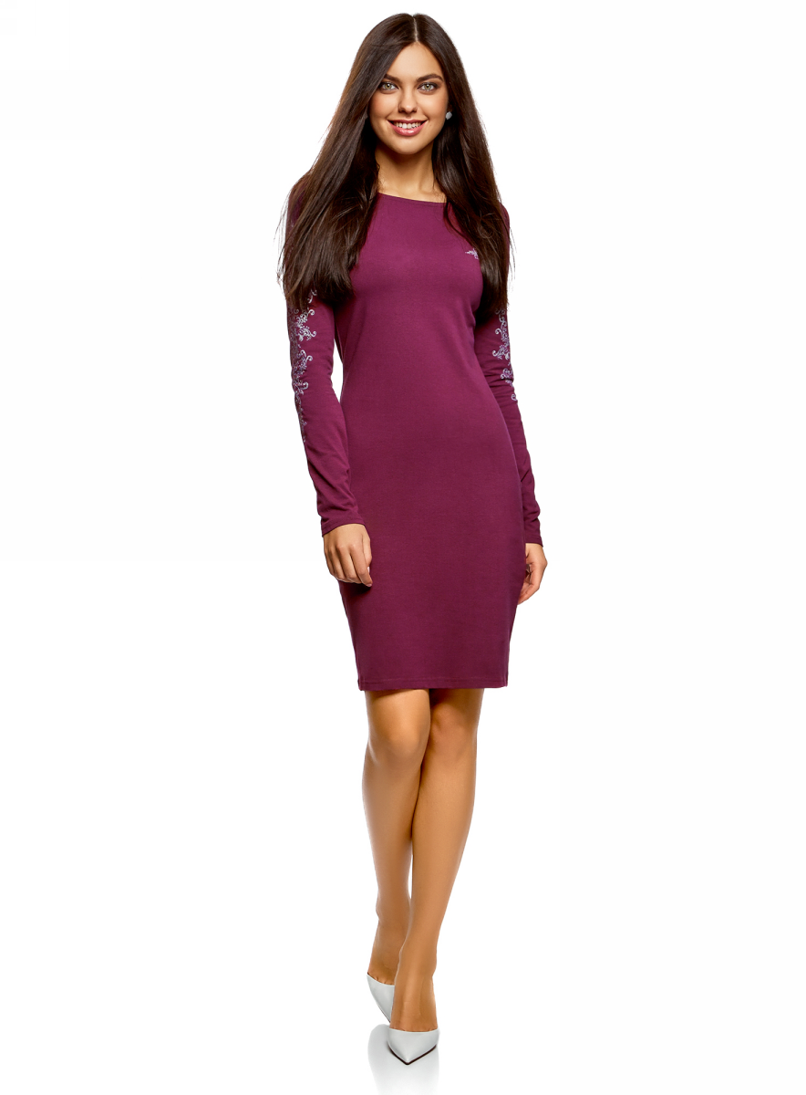 Платье oodji Ultra, цвет: фиолетовый. 14001183-3/46148/8391P. Размер XXS (40) болеро oodji ultra цвет красный 14607001 1 24438 4500n размер xxs 40
