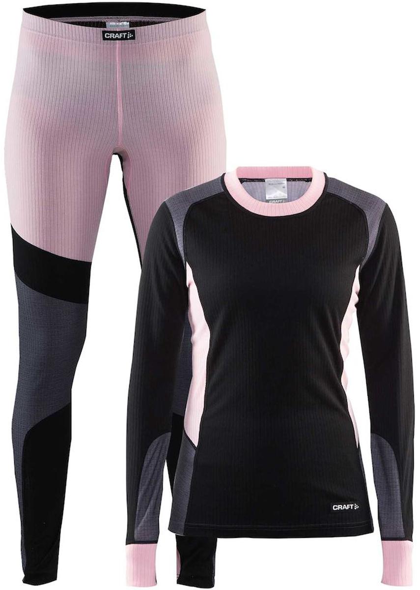 Комплект термобелья женский: брюки и кофта Craft Baselayer, цвет: черно-розовый. 1905331/999701. Размер XS (42)1905331/999701