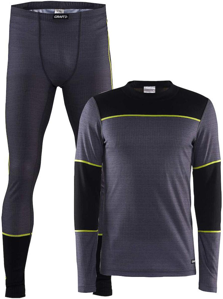 Комплект термобелья мужской: брюки и кофта Craft Baselayer, цвет: черно-серый. 1905332/975999. Размер XL (52)1905332/975999