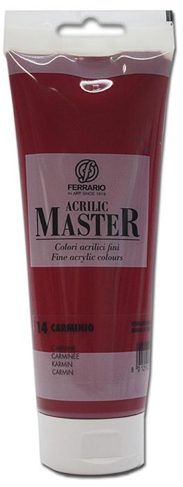 Ferrario Краска акриловая Acrilic Master цвет №14 кармин 250 млBM0978B0014Акриловые краски серии ACRILIC MASTER итальянской компании Ferrario. Универсальны в применении, так как хорошо ложатся на любую обезжиренную поверхность: бумага, холст, картон, дерево, керамика, пластик. При изготовлении красок используются высококачественные пигменты мелкого помола. Краска быстро сохнет, обладает отличной укрывистостью и насыщенностью цвета. Работы, сделанные с помощью ACRILIC MASTER, не тускнеют и не выгорают на солнце. Все цвета отлично смешиваются между собой и при необходимости разбавляются водой. Для достижения необходимых эффектов применяют различные медиумы для акриловой живописи. В серии представлено 50 цветов.