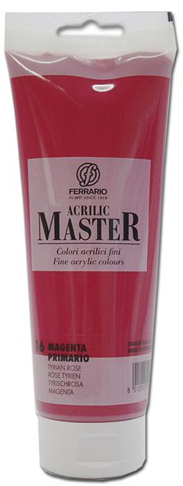 Ferrario Краска акриловая Acrilic Master цвет №16 маджента 250 мл BM0978B0016BM0978B0016Акриловые краски серии ACRILIC MASTER итальянской компании Ferrario. Универсальны в применении, так как хорошо ложатся на любую обезжиренную поверхность: бумага, холст, картон, дерево, керамика, пластик. При изготовлении красок используются высококачественные пигменты мелкого помола. Краска быстро сохнет, обладает отличной укрывистостью и насыщенностью цвета. Работы, сделанные с помощью ACRILIC MASTER, не тускнеют и не выгорают на солнце. Все цвета отлично смешиваются между собой и при необходимости разбавляются водой. Для достижения необходимых эффектов применяют различные медиумы для акриловой живописи. В серии представлено 50 цветов.