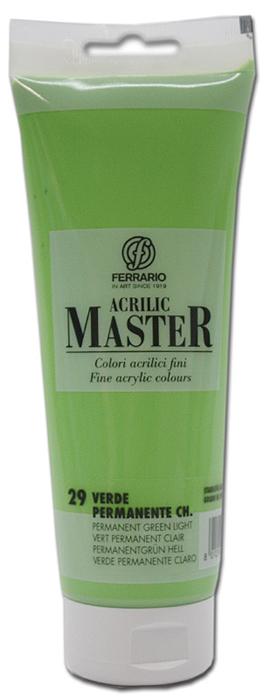 Ferrario Краска акриловая Acrilic Master цвет №29 перманентный зеленый светлый 250 млBM0978B0029Акриловые краски серии ACRILIC MASTER итальянской компании Ferrario. Универсальны в применении, так как хорошо ложатся на любую обезжиренную поверхность: бумага, холст, картон, дерево, керамика, пластик. При изготовлении красок используются высококачественные пигменты мелкого помола. Краска быстро сохнет, обладает отличной укрывистостью и насыщенностью цвета. Работы, сделанные с помощью ACRILIC MASTER, не тускнеют и не выгорают на солнце. Все цвета отлично смешиваются между собой и при необходимости разбавляются водой. Для достижения необходимых эффектов применяют различные медиумы для акриловой живописи. В серии представлено 50 цветов.