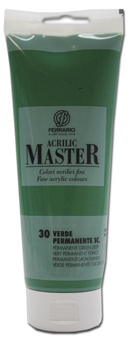 Ferrario Краска акриловая Acrilic Master цвет №30 перманентный зеленый темный 250 млBM0978B0030Акриловые краски серии ACRILIC MASTER итальянской компании Ferrario. Универсальны в применении, так как хорошо ложатся на любую обезжиренную поверхность: бумага, холст, картон, дерево, керамика, пластик. При изготовлении красок используются высококачественные пигменты мелкого помола. Краска быстро сохнет, обладает отличной укрывистостью и насыщенностью цвета. Работы, сделанные с помощью ACRILIC MASTER, не тускнеют и не выгорают на солнце. Все цвета отлично смешиваются между собой и при необходимости разбавляются водой. Для достижения необходимых эффектов применяют различные медиумы для акриловой живописи. В серии представлено 50 цветов.