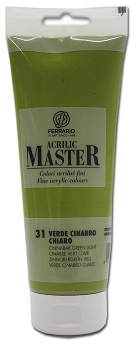 Ferrario Краска акриловая Acrilic Master цвет №31 киноварь зеленая светлая 250 мл BM0978B0031BM0978B0031Акриловые краски серии ACRILIC MASTER итальянской компании Ferrario. Универсальны в применении, так как хорошо ложатся на любую обезжиренную поверхность: бумага, холст, картон, дерево, керамика, пластик. При изготовлении красок используются высококачественные пигменты мелкого помола. Краска быстро сохнет, обладает отличной укрывистостью и насыщенностью цвета. Работы, сделанные с помощью ACRILIC MASTER, не тускнеют и не выгорают на солнце. Все цвета отлично смешиваются между собой и при необходимости разбавляются водой. Для достижения необходимых эффектов применяют различные медиумы для акриловой живописи. В серии представлено 50 цветов.