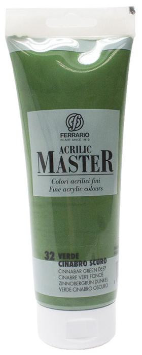 Ferrario Краска акриловая Acrilic Master цвет №32 киноварь зеленая темная 250 мл BM0978B0032BM0978B0032Акриловые краски серии ACRILIC MASTER итальянской компании Ferrario. Универсальны в применении, так как хорошо ложатся на любую обезжиренную поверхность: бумага, холст, картон, дерево, керамика, пластик. При изготовлении красок используются высококачественные пигменты мелкого помола. Краска быстро сохнет, обладает отличной укрывистостью и насыщенностью цвета. Работы, сделанные с помощью ACRILIC MASTER, не тускнеют и не выгорают на солнце. Все цвета отлично смешиваются между собой и при необходимости разбавляются водой. Для достижения необходимых эффектов применяют различные медиумы для акриловой живописи. В серии представлено 50 цветов.