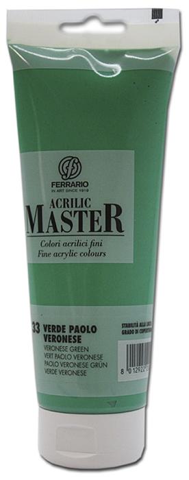 Ferrario Краска акриловая Acrilic Master цвет №33 зеленая Паоло Воронезе 250 млBM0978B0033Акриловые краски серии ACRILIC MASTER итальянской компании Ferrario. Универсальны в применении, так как хорошо ложатся на любую обезжиренную поверхность: бумага, холст, картон, дерево, керамика, пластик. При изготовлении красок используются высококачественные пигменты мелкого помола. Краска быстро сохнет, обладает отличной укрывистостью и насыщенностью цвета. Работы, сделанные с помощью ACRILIC MASTER, не тускнеют и не выгорают на солнце. Все цвета отлично смешиваются между собой и при необходимости разбавляются водой. Для достижения необходимых эффектов применяют различные медиумы для акриловой живописи. В серии представлено 50 цветов.