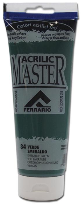Ferrario Краска акриловая Acrilic Master цвет №34 изумрудно-зеленый 250 млBM0978B0034Акриловые краски серии ACRILIC MASTER итальянской компании Ferrario. Универсальны в применении, так как хорошо ложатся на любую обезжиренную поверхность: бумага, холст, картон, дерево, керамика, пластик. При изготовлении красок используются высококачественные пигменты мелкого помола. Краска быстро сохнет, обладает отличной укрывистостью и насыщенностью цвета. Работы, сделанные с помощью ACRILIC MASTER, не тускнеют и не выгорают на солнце. Все цвета отлично смешиваются между собой и при необходимости разбавляются водой. Для достижения необходимых эффектов применяют различные медиумы для акриловой живописи. В серии представлено 50 цветов.