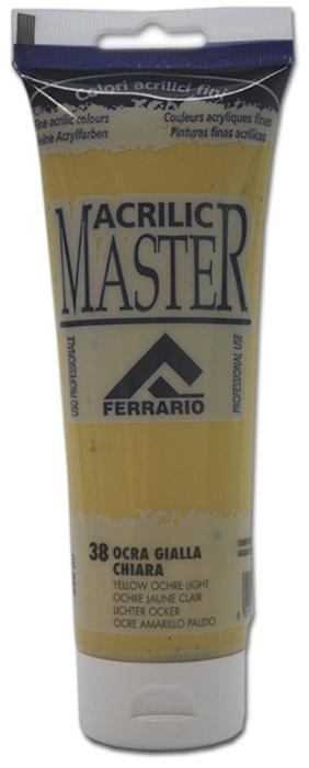 Ferrario Краска акриловая Acrilic Master цвет №38 охра светлая желтая 250 мл BM0978B0038BM0978B0038Акриловые краски серии ACRILIC MASTER итальянской компании Ferrario. Универсальны в применении, так как хорошо ложатся на любую обезжиренную поверхность: бумага, холст, картон, дерево, керамика, пластик. При изготовлении красок используются высококачественные пигменты мелкого помола. Краска быстро сохнет, обладает отличной укрывистостью и насыщенностью цвета. Работы, сделанные с помощью ACRILIC MASTER, не тускнеют и не выгорают на солнце. Все цвета отлично смешиваются между собой и при необходимости разбавляются водой. Для достижения необходимых эффектов применяют различные медиумы для акриловой живописи. В серии представлено 50 цветов.